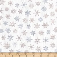 Timeless Treasures Snow Is Falling Rustic Light Snowflakes Cream