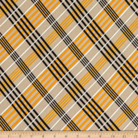 Fabric Merchants Double Brushed Poly Jersey Knit Plaid Stone/Mustard