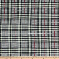 Fabric Merchants Double Brushed Poly Jersey Knit Plaid Black/Gray/Burgundy