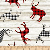 Timeless Treasures I'll Be Home For Christmas Buffalo Deer Decals Multi