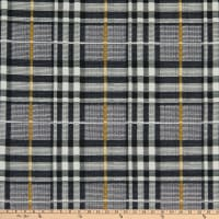 Fabric Merchants Double Brushed Poly Jersey Knit Plaid Black/Gray/Mustard