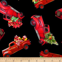 Timeless Treasures I'll Be Home For Christmas Red Trucks With Packages Black