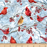 Timeless Treasures Tree Farm Winter Cardinals Blue