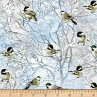 Timeless Treasures Tree Farm Black-Capped Chickadees Blue