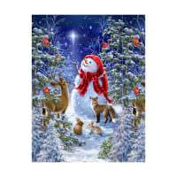 "Timeless Treasures Starry Night Snowman & Woodland Creatures 24"" Panel Multi"