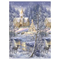 "Timeless Treasures Winter Blessing Winter Church 24"" Panel Multi"