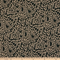 Fabric Merchants Lily Double Jacquard Knit Allover Textured Flower Petals Black/Taupe