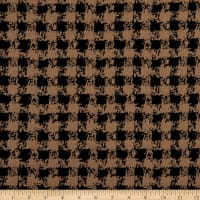 Fabric Merchants Lily Double Jacquard Stretch Knit Distressed Check Black/Taupe