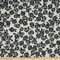 Fabric Merchants Lily Double Jacquard Knit Embroired Stencil Roses White/Black
