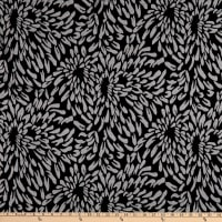 Fabric Merchants Lily Double Jacquard Knit Allover Flower Petals Black/Grey