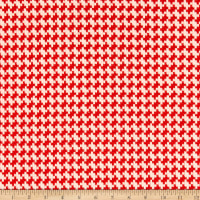 Fabric Merchants Lily Double Jacquard Knit Textured Hounsdtooth Orange/White