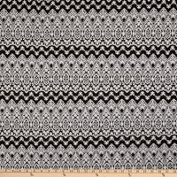 Fabric Merchants Lily Double Jacquard Stretch Knit Ancient Shield Black/White