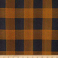 Fabric Merchants Retro Hacci Sweater Knit Houndstooth Plaid Charcoal/Mustard