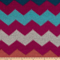 Fabric Merchants Retro Hacci Sweater Knit Stretch Distressed Chevron Print Fuchsia/Teal/Gray