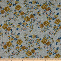 Fabric Merchants Retro Hacci Sweater Knit Stretch Flower Field Print Gray/Gold