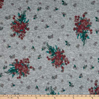 Fabric Merchants Retro Hacci Sweater Knit Stretch Flower Clusters Gray/Burgundy
