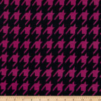 Fabric Merchants Retro Hacci Sweater Knit Large Houndstooth Pattern Fuchsia/Black