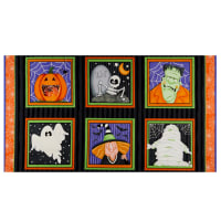 "Henry Glass A Haunting We Will Glow Block 24"" Panel Black/Orange"