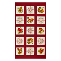 "Henry Glass Autumn Is Calling Block 24"" Panel Red"