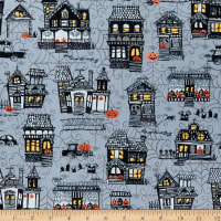 Henry Glass Metallic Spooky Town Small Town Scenic Grey