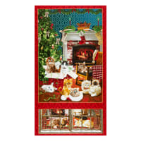 "Henry Glass Fireside Kittens Kitten Banner 24"" Panel Red"