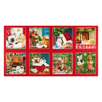 "Henry Glass Fireside Kittens Blocks 24"" Panel Red"