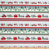 Henry Glass Holiday Heartland Truck & Sled Stripe Gray/Red