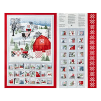 "Henry Glass Holiday Heartland 36"" Advent Calendar Panel Gray/Red"