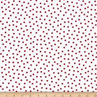 Henry Glass Holly Hill Christmas Dots White/Red