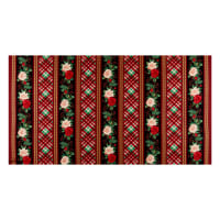 Henry Glass Metallic Hometown Holiday Border Stripe Black