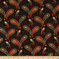 Henry Glass Hometown Holiday Paisley Black