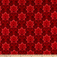 Henry Glass Hometown Holiday Damask Red