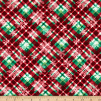 Henry Glass Hometown Holiday Snowflake Plaid Red