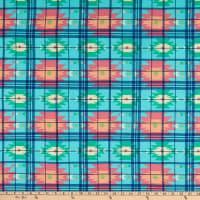 Fabric Merchants Rayon Challis Plaid Geo Blue/Pink