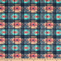 Fabric Merchants Rayon Challis Plaid Geo Charcoal/Pink