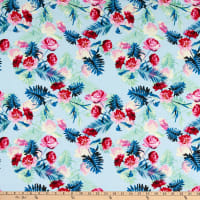 Fabric Merchants Rayon Challis Tropical Roses Blue/Pink