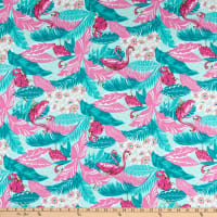 Fabric Merchants Stretch Poplin Flamingo Pink/Jade