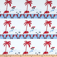 Fabric Merchants Stretch Poplin Bettie by the Bay Ivory/Red/Blue