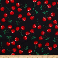 Fabric Merchants Stretch Cotton Sateen Cherry Black/Red