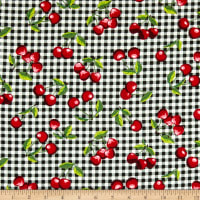 Fabric Merchants Stretch Cotton Sateen Cherry Gingham Black/Red