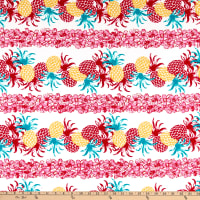 Fabric Merchants Stretch Cotton Sateen Pineapple Express Red/Pink/Ivory