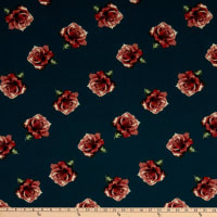 Fabric Merchants Bubble Crepe Roses Teal/Coral