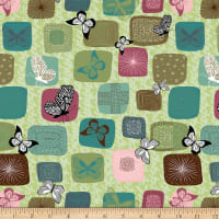 Stoffabric Denmark Flying Around Digital Printed  Butterflies In Squares Lime