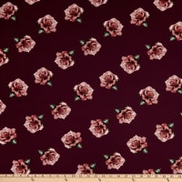 Fabric Merchants Bubble Crepe Roses Burgundy/Rose