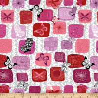Stoffabric Denmark Flying Around Digital Printed  Butterflies In Squares Pink