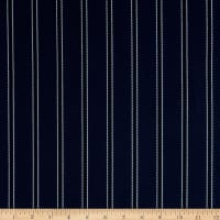 Fabric Merchants Bubble Crepe Double Stripe Navy/Black