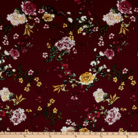 Fabric Merchants Bubble Crepe Floral Garden Burgundy/Mustard