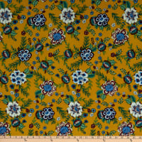 Fabric Merchants Bubble Crepe Bohemian Floral Mustard/Blue