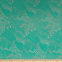 Fabric Merchants Polyester Chiffon Swirls Mint/Ivory