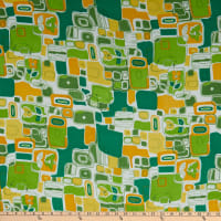 Fabric Merchants Polyester Chiffon Retro Shapes Green/Yellow